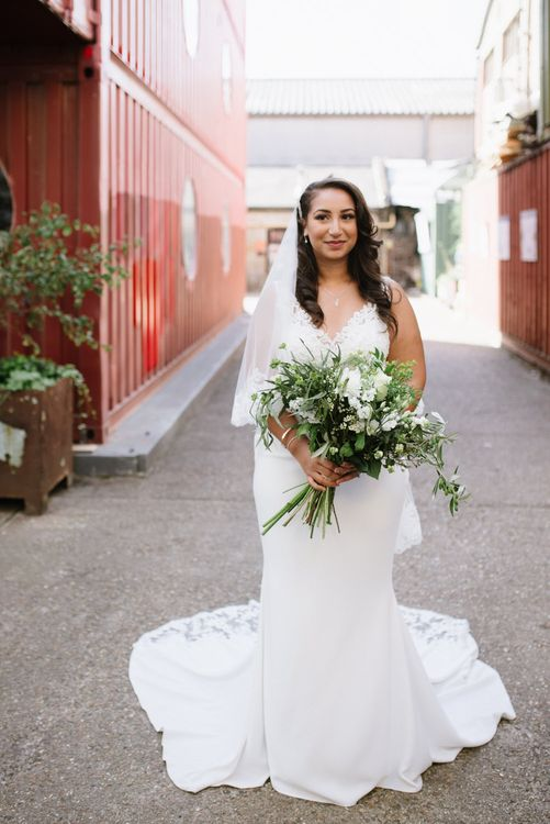 Green Foliage and White Roses. Bride Wears Wed2b Dress. Modern Warehouse Wedding in London at Trinity Buoy Wharf. Images by Captured by Katrina Photography