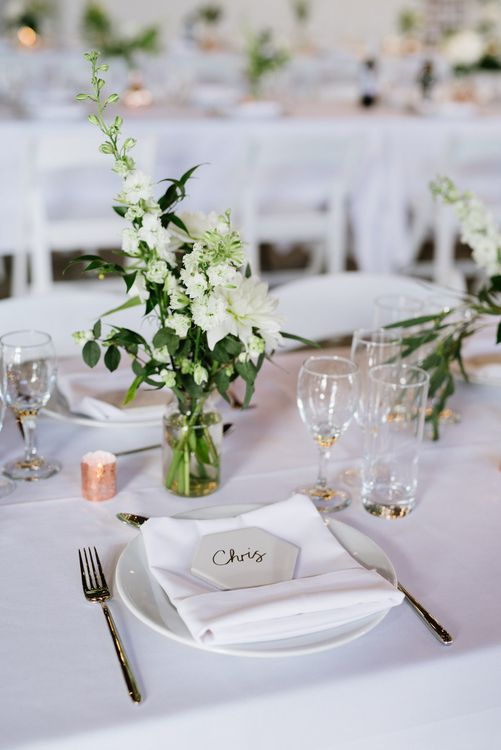 DIY Tile Name Place Settings. Green Foliage with White Roses and Copper Accents. Modern Warehouse Wedding in London at Trinity Buoy Wharf. Images by Captured by Katrina Photography