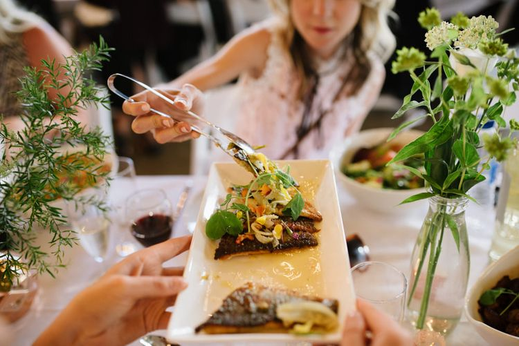 Afro-Caribbean Food on Sharing Plates. Modern Warehouse Wedding in London at Trinity Buoy Wharf. Images by Captured by Katrina Photography