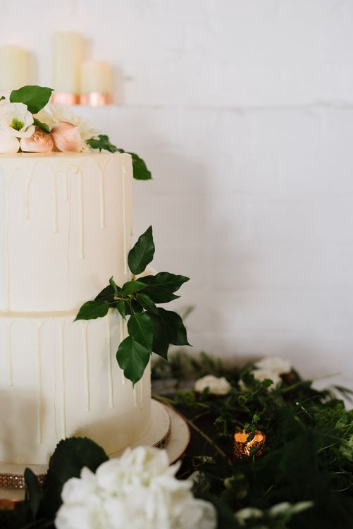 Simple Salted Caramel and White Chocolate Wedding Cake. Green Foliage with White Roses and Copper Accents. Modern Warehouse Wedding in London at Trinity Buoy Wharf. Images by Captured by Katrina Photography