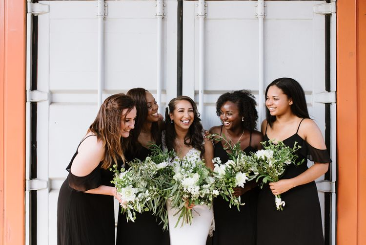 Monochrome Bridal Party Fashion. Bridesmaids in Boohoo Black Dresses. Modern Warehouse Wedding in London at Trinity Buoy Wharf. Images by Captured by Katrina Photography