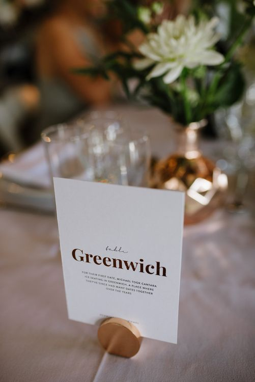 On the Day Stationery with Copper Foiling. Table Names. Modern Warehouse Wedding in London at Trinity Buoy Wharf. Images by Captured by Katrina Photography