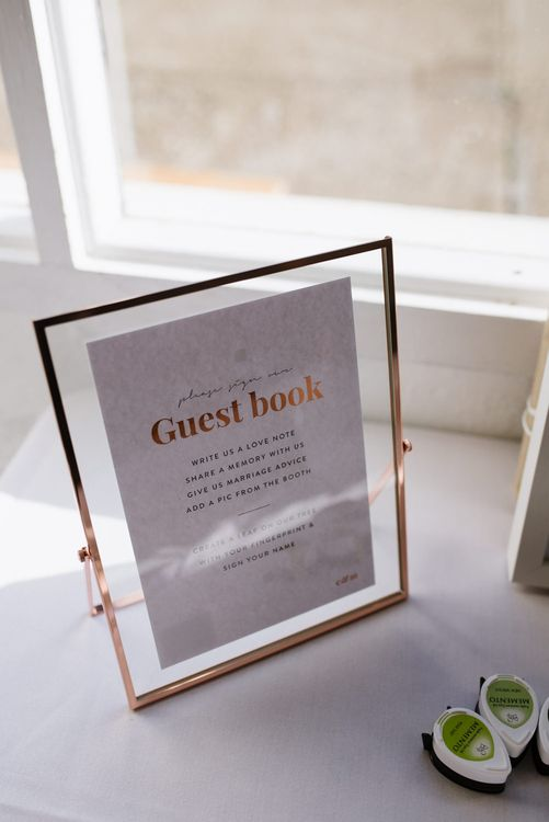 On the Day Stationery with Copper Foiling. Guest Book. Modern Warehouse Wedding in London at Trinity Buoy Wharf. Images by Captured by Katrina Photography