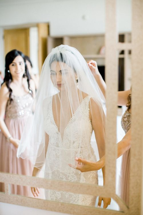 Elegant Bride in Wedding Veil and Lace Anna Georgina Wedding Dress