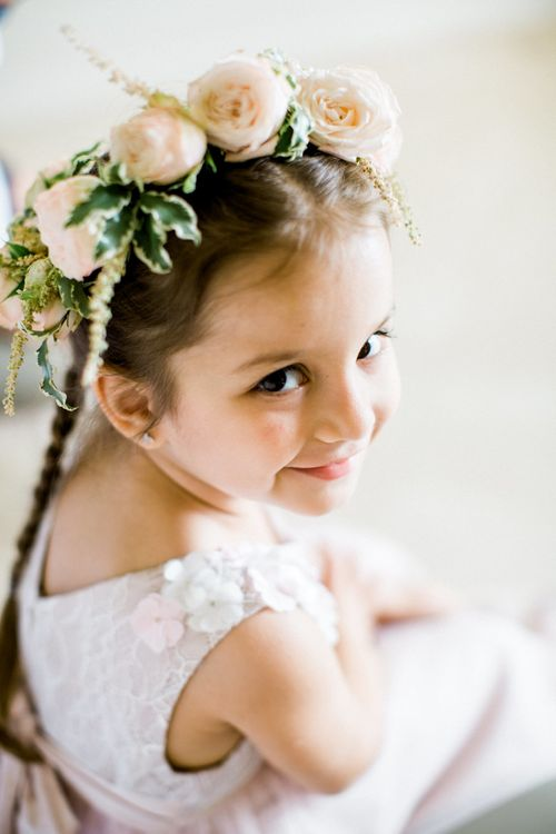Flower Girl with Pink Rose and Ivy Flower Crown