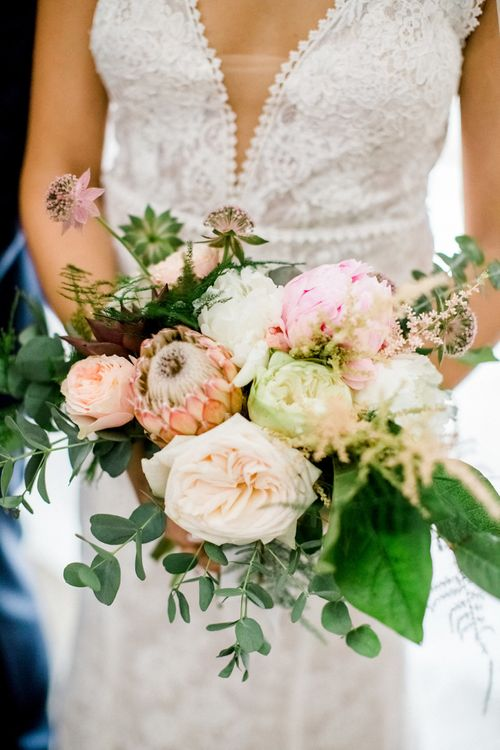 Blush Pink Wedding Bouquet with Protea's, Peonies and Roses