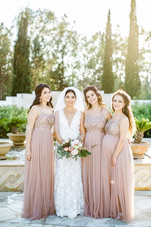 Bridal Party with Bridesmaids in Pink Thin Strap Dresses and Bridesmaid pin Lace  Anna Georgina Wedding Dress