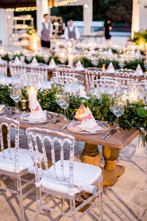 Clear Glass Platters and Wedding  Reception Chairs