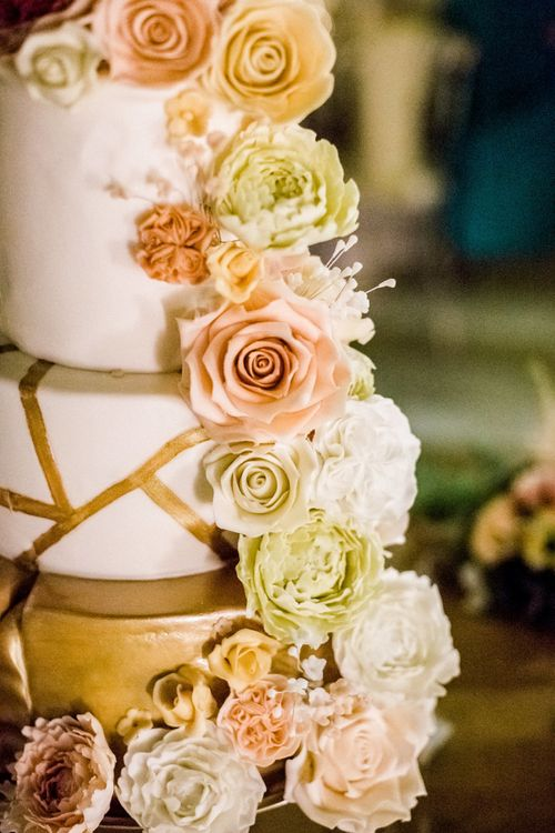 Royal Iced Wedding Cake with Floral Decor