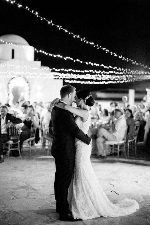 Bride in Lace  Anna Georgina Wedding Dress and Groom in Blue Suit Taking Their First Dance