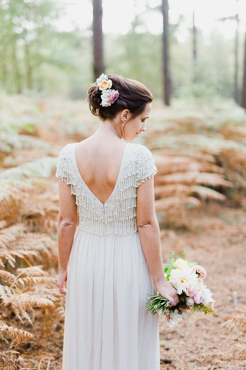 Monsoon short sleeve wedding dress with v-neck back and beaded embellishment