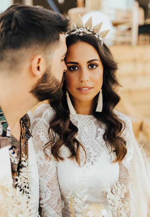 Boho bride with Tilly Thomas Lux crown and tassel earrings