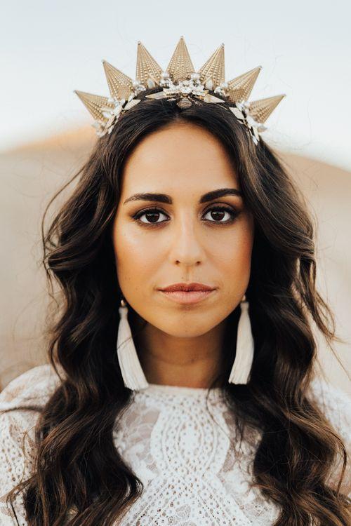 Natural bridal makeup and long wavy wedding hair