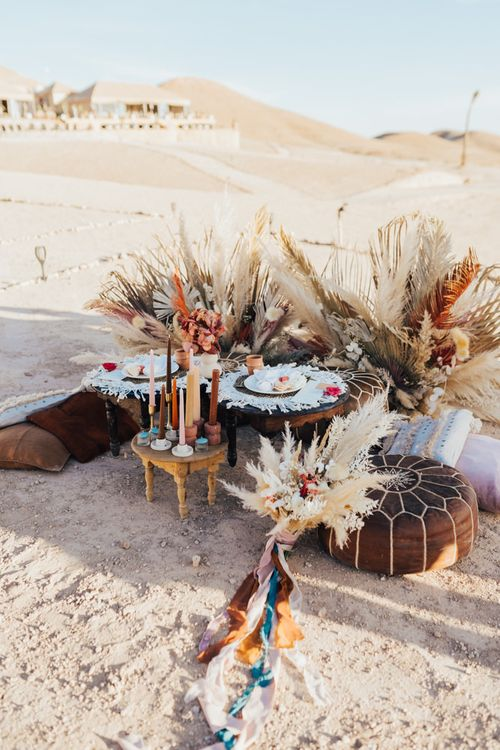 Intimate chill out area for Moroccan wedding
