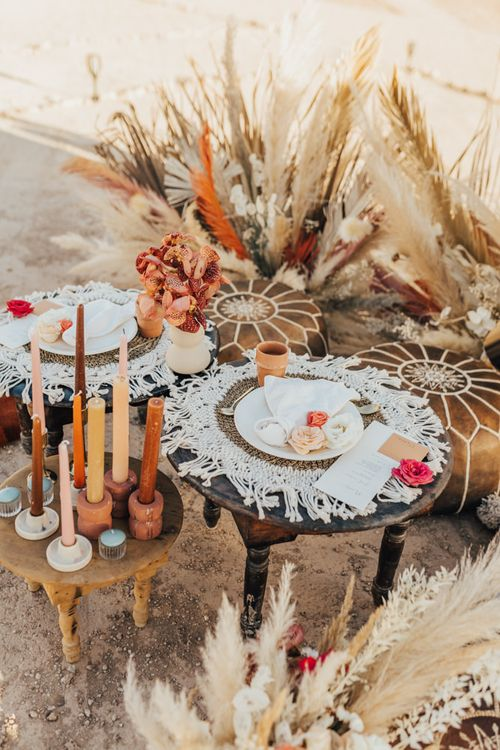 Moroccan themed intimate wedding breakfast setup