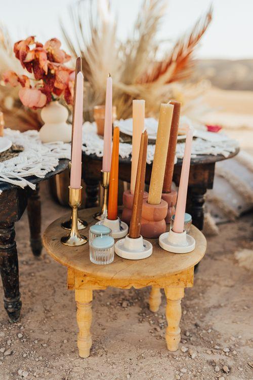 Coloured candles wedding decor