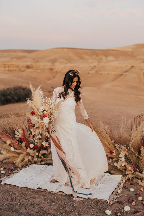 Boho bride in grace loves lace wedding dress with long sleeves
