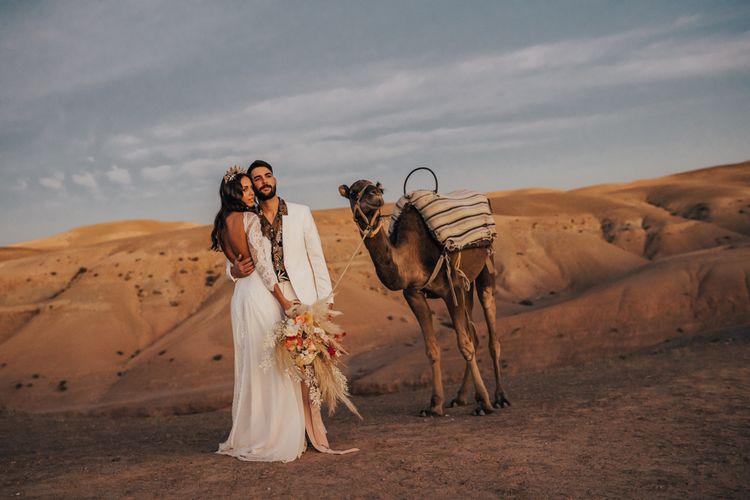 Golden hour portrait at Moroccan desert elopement