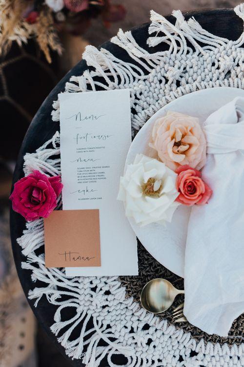 Menu card and place setting wedding stationery