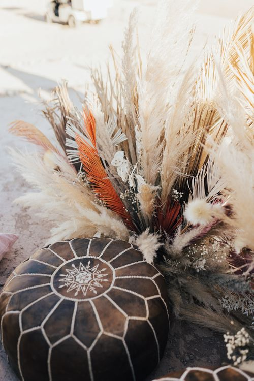 Dried pampas grass and Moroccan pouffe