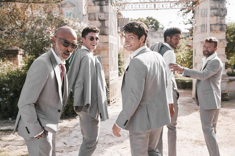 Light Grey Suits For Groom & Groomsmen From Moss Bros.