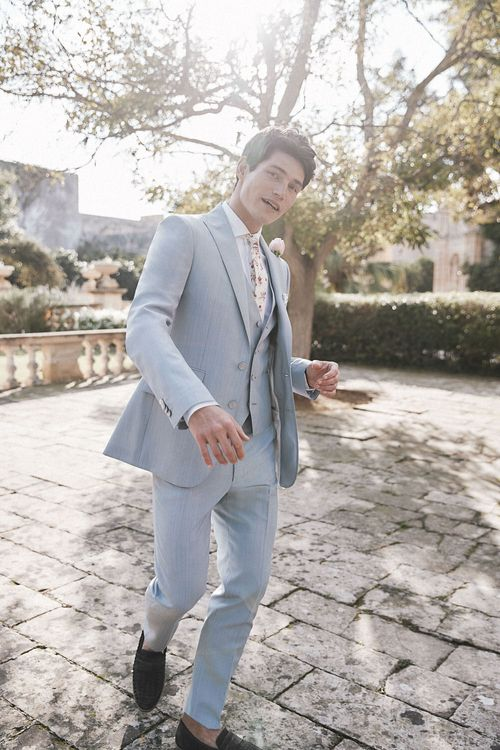 Baby Blue Suit For Groom From Moss Bros.