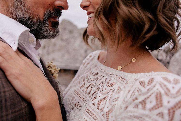 crochet wedding top and gold necklace