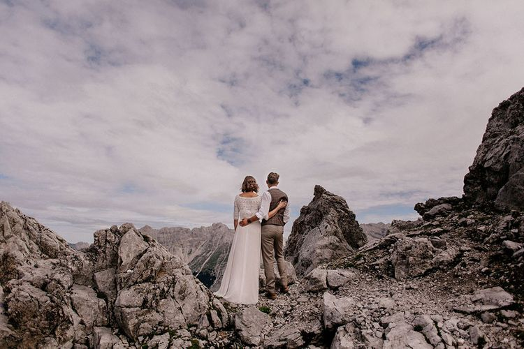 Bride and groom portrait at mountain wedding