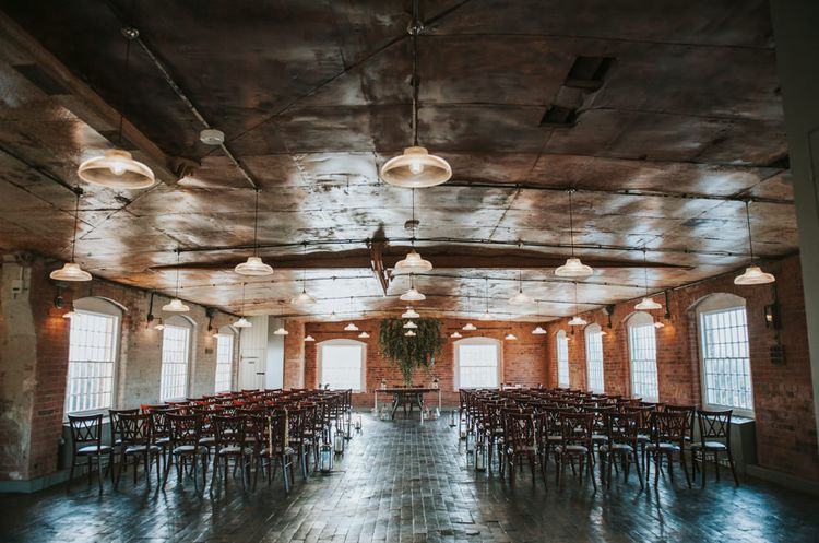 Aisle & Altar | Copper & Greenery Industrial Winter Wedding at The West Mill Derby, Styled by The Vintage House That Could | Rosie Kelly Photography | Jason Lynch Weddings
