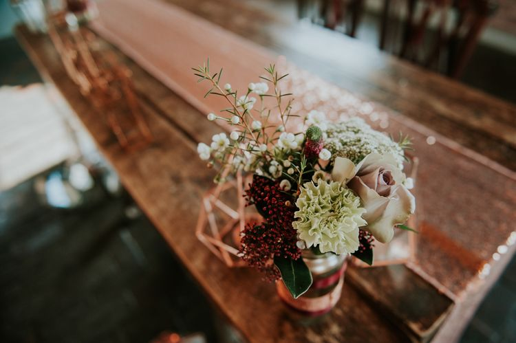 Muted Wedding Flowers in Glass Jar | Copper & Greenery Industrial Winter Wedding at The West Mill Derby, Styled by The Vintage House That Could | Rosie Kelly Photography | Jason Lynch Weddings