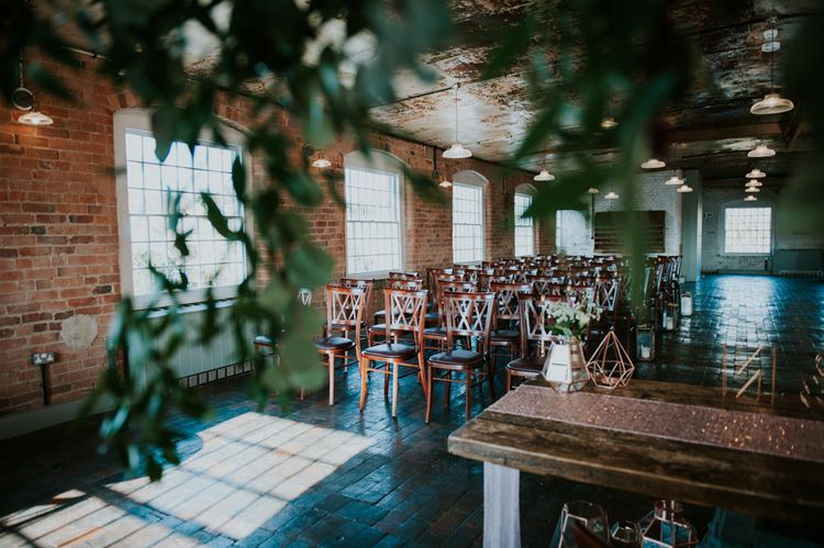 Wedding Ceremony | Copper & Greenery Industrial Winter Wedding at The West Mill Derby, Styled by The Vintage House That Could | Rosie Kelly Photography | Jason Lynch Weddings