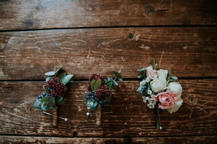 Winter Buttonholes | Copper & Greenery Industrial Winter Wedding at The West Mill Derby, Styled by The Vintage House That Could | Rosie Kelly Photography | Jason Lynch Weddings