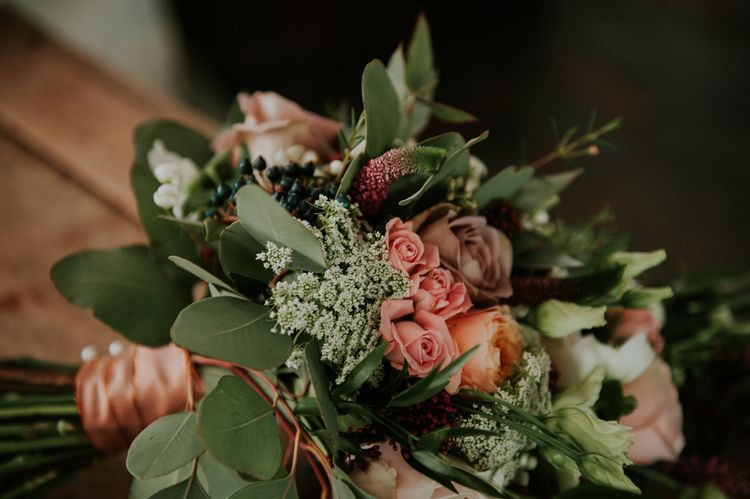 Winter Wedding Flowers | Copper & Greenery Industrial Winter Wedding at The West Mill Derby, Styled by The Vintage House That Could | Rosie Kelly Photography | Jason Lynch Weddings