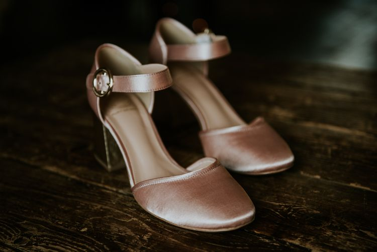 Satin Wedding Shoes | Copper & Greenery Industrial Winter Wedding at The West Mill Derby, Styled by The Vintage House That Could | Rosie Kelly Photography | Jason Lynch Weddings