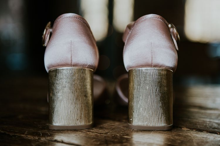 Block Heel Wedding Shoes | Copper & Greenery Industrial Winter Wedding at The West Mill Derby, Styled by The Vintage House That Could | Rosie Kelly Photography | Jason Lynch Weddings