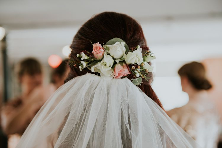 Fresh Flower Wedding Hair | Copper & Greenery Industrial Winter Wedding at The West Mill Derby, Styled by The Vintage House That Could | Rosie Kelly Photography | Jason Lynch Weddings