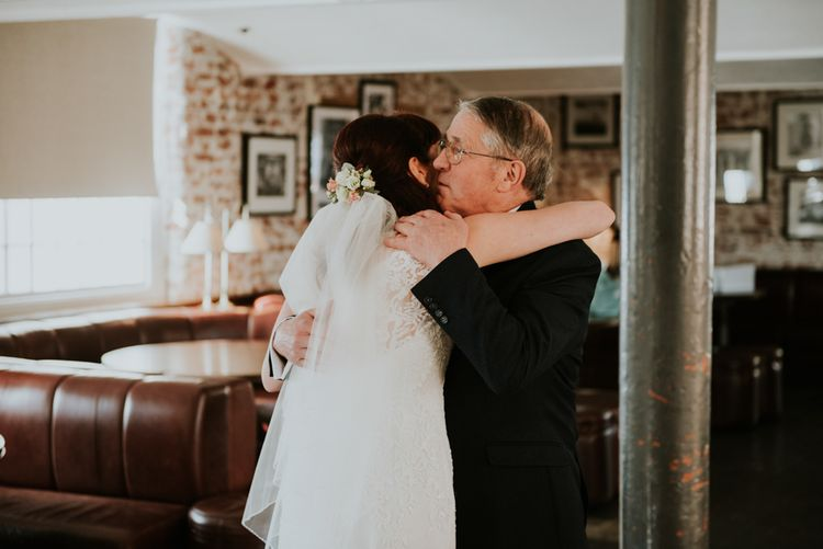 Father of the Bride First Look | Bride in Wed2B Bridal Gown | Copper & Greenery Industrial Winter Wedding at The West Mill Derby, Styled by The Vintage House That Could | Rosie Kelly Photography | Jason Lynch Weddings