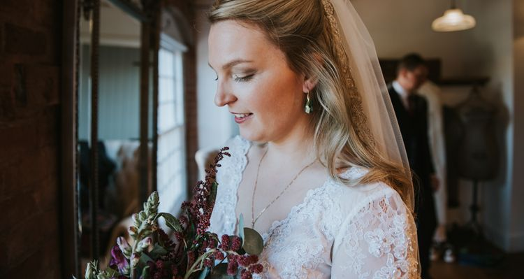 Bride in Wed2B Bridal Gown | Copper & Greenery Industrial Winter Wedding at The West Mill Derby, Styled by The Vintage House That Could | Rosie Kelly Photography | Jason Lynch Weddings