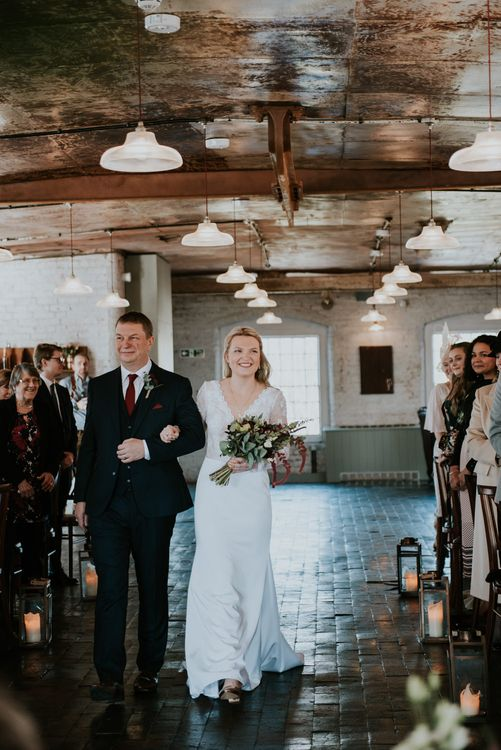 Wedding Ceremony Bridal Entrance in Wed2B Bridal Gown | Copper & Greenery Industrial Winter Wedding at The West Mill Derby, Styled by The Vintage House That Could | Rosie Kelly Photography | Jason Lynch Weddings
