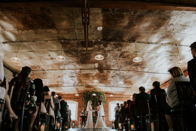 Wedding Ceremony | Brides in Wed2B Lace Bridal Gowns | Copper & Greenery Industrial Winter Wedding at The West Mill Derby, Styled by The Vintage House That Could | Rosie Kelly Photography | Jason Lynch Weddings