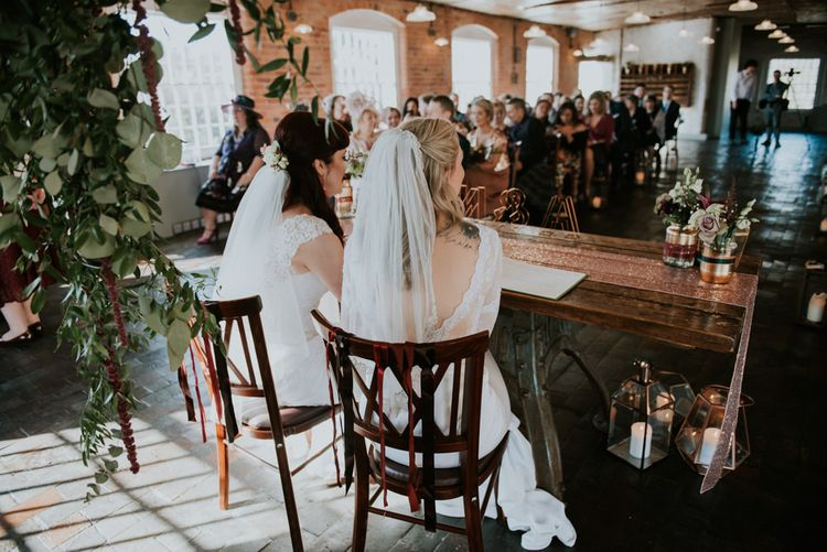 Wedding Ceremony | Brides in Wed2B Bridal Gowns | Copper & Greenery Industrial Winter Wedding at The West Mill Derby, Styled by The Vintage House That Could | Rosie Kelly Photography | Jason Lynch Weddings