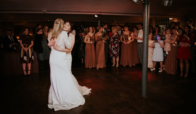First Dance | Brides in Lace WED2B Bridal Gowns | Copper & Greenery Industrial Winter Wedding at The West Mill Derby, Styled by The Vintage House That Could | Rosie Kelly Photography | Jason Lynch Weddings