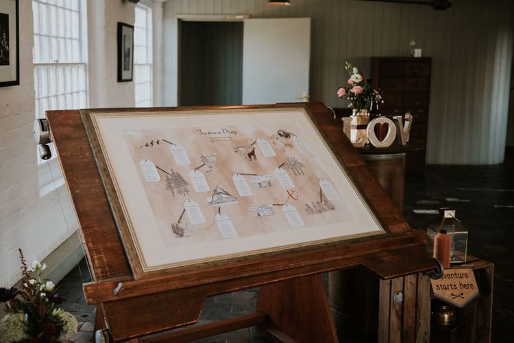 Treasure Map Table Plan | Copper & Greenery Industrial Winter Wedding at The West Mill Derby, Styled by The Vintage House That Could | Rosie Kelly Photography | Jason Lynch Weddings