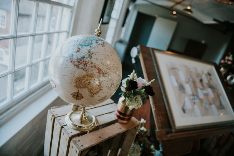 Globe Wedding Decor | Copper & Greenery Industrial Winter Wedding at The West Mill Derby, Styled by The Vintage House That Could | Rosie Kelly Photography | Jason Lynch Weddings