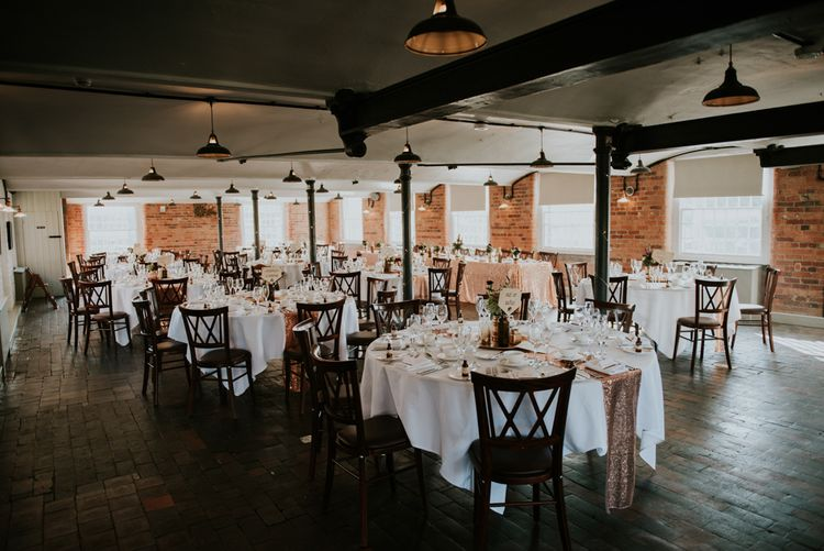 Reception Wedding Decor | Copper & Greenery Industrial Winter Wedding at The West Mill Derby, Styled by The Vintage House That Could | Rosie Kelly Photography | Jason Lynch Weddings