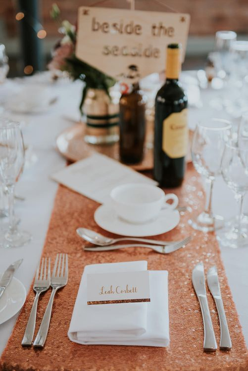Place Setting with Sequin Table Cloth & Platter | Copper & Greenery Industrial Winter Wedding at The West Mill Derby, Styled by The Vintage House That Could | Rosie Kelly Photography | Jason Lynch Weddings