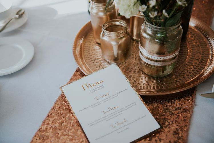 Menu Card |  Sequin Table Runner & Platter | Copper & Greenery Industrial Winter Wedding at The West Mill Derby, Styled by The Vintage House That Could | Rosie Kelly Photography | Jason Lynch Weddings