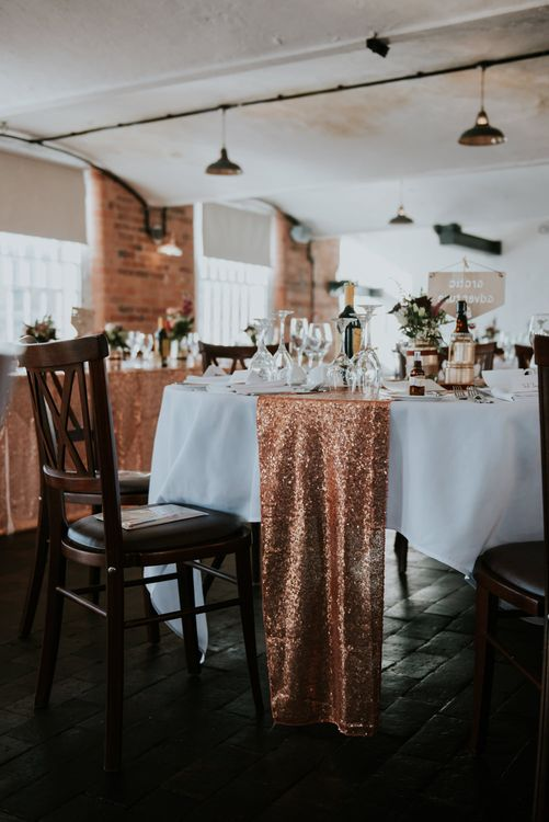 Sequin Table Runner Wedding Decor | Copper & Greenery Industrial Winter Wedding at The West Mill Derby, Styled by The Vintage House That Could | Rosie Kelly Photography | Jason Lynch Weddings