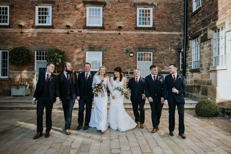 Groomsmen in Slaters Suits | Brides in WED2B Bridal Gowns | Copper & Greenery Industrial Winter Wedding at The West Mill Derby, Styled by The Vintage House That Could | Rosie Kelly Photography | Jason Lynch Weddings