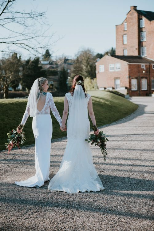 Brides in Lace WED2B Bridal Gowns | Copper & Greenery Industrial Winter Wedding at The West Mill Derby, Styled by The Vintage House That Could | Rosie Kelly Photography | Jason Lynch Weddings